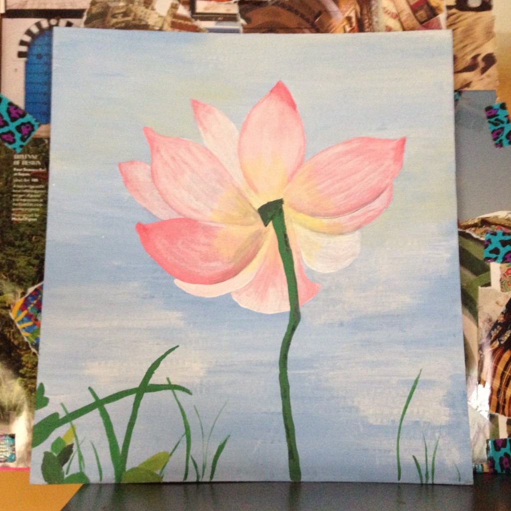 My finished lotus flower, now sitting pretty over my desk.