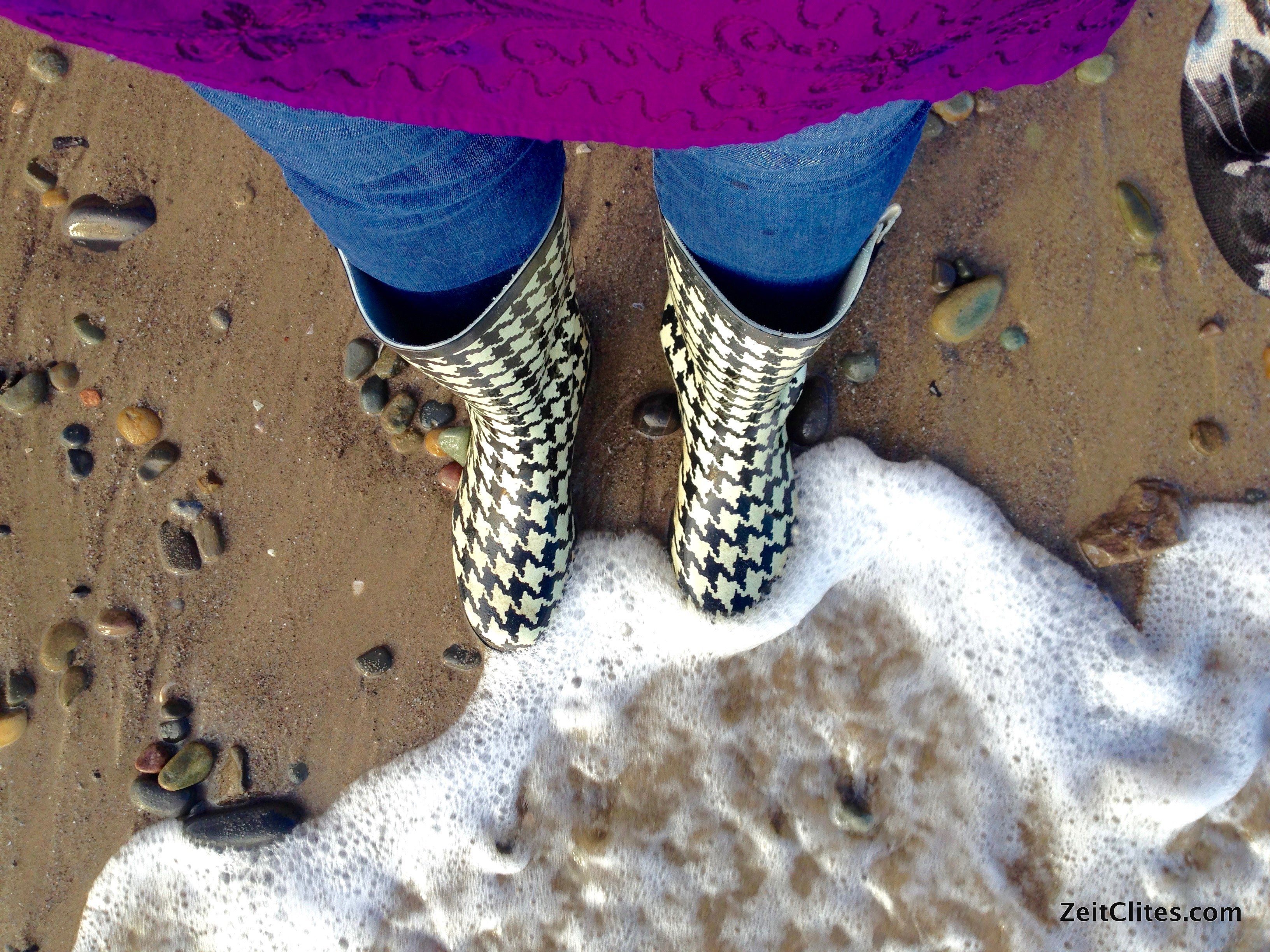 My Wellies loved being tickled by the waves.