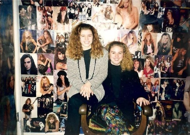 In my best friend's bedroom our Sophomore year of high school, in front of the Hair Metal Wall of Fame