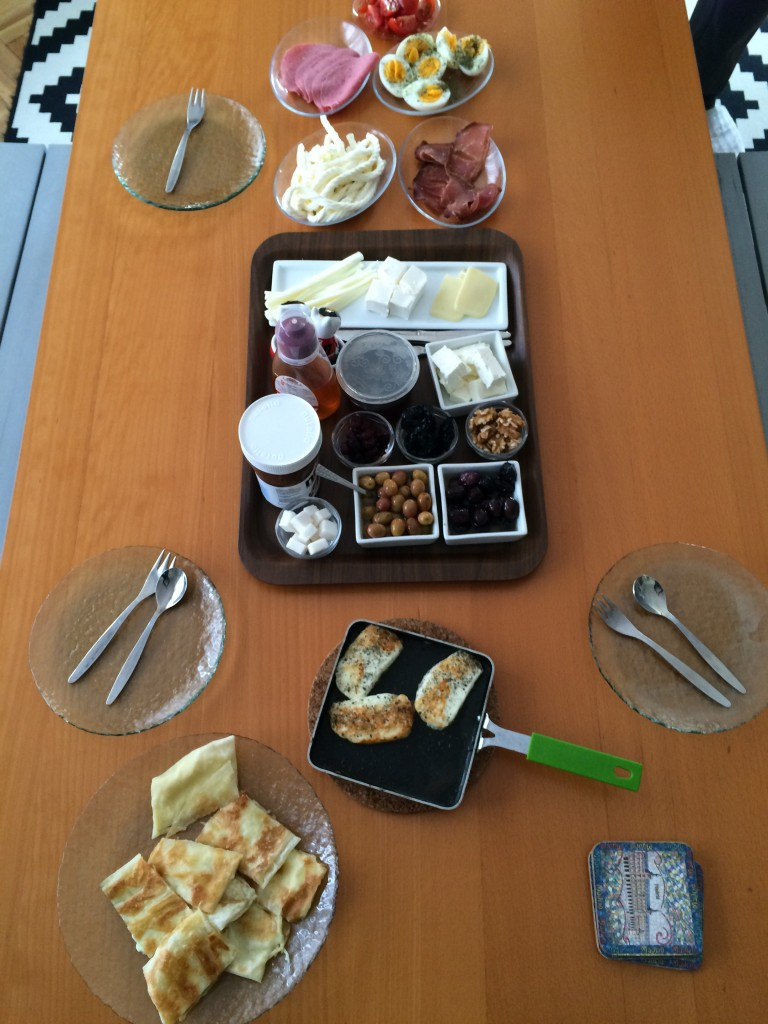 Our delicious breakfast that our wonderful host, Esra, prepared for us.