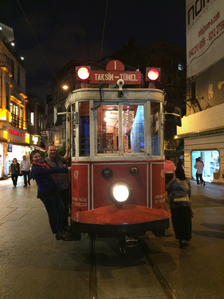 Hubs and I posing on the trolley, near the site of the most recent bombing in Istanbul.