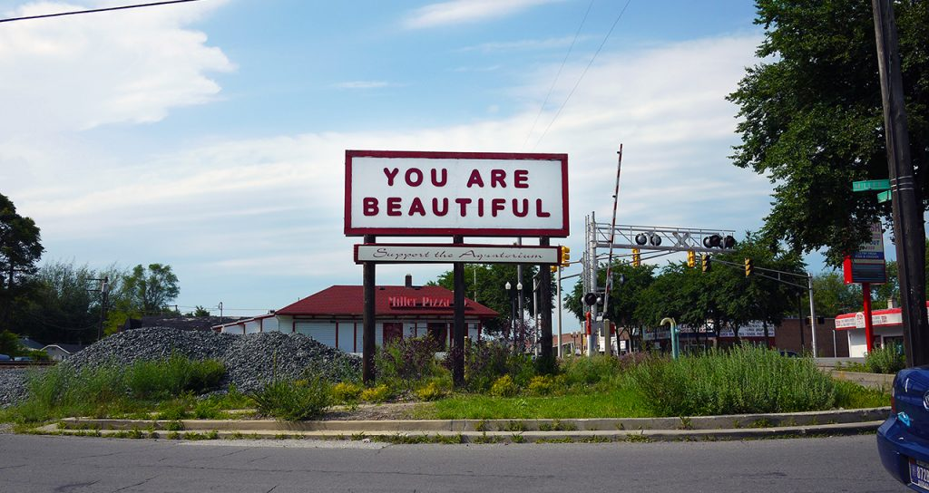 """You Are Beautiful"" sign welcoming people to the Miller Beach neighborhood of Gary, where we are planning to move. Part of the You Are Beautiful public art project https://you-are-beautiful.com/pages/public-art"